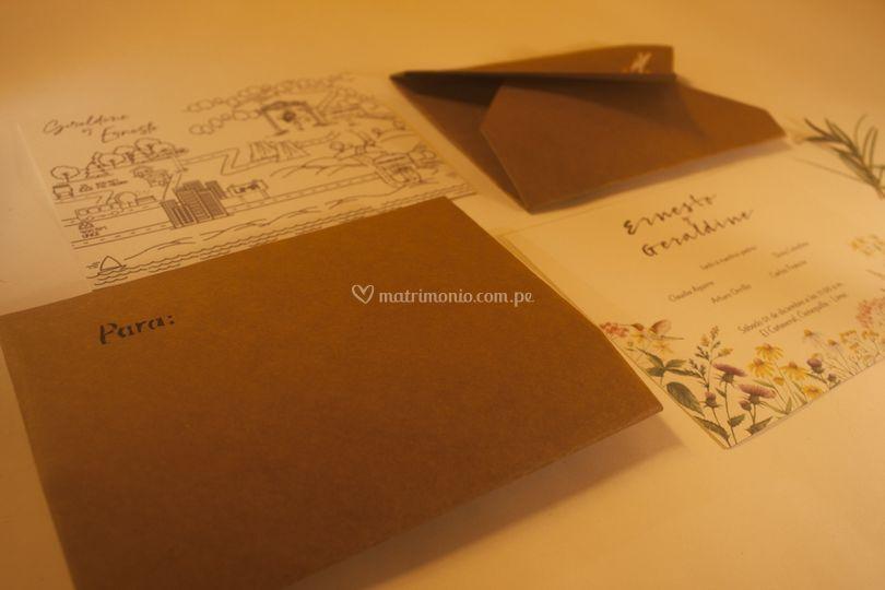 Set sobres, invitación y mapa