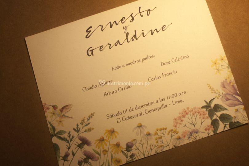 Parte de boda impreso