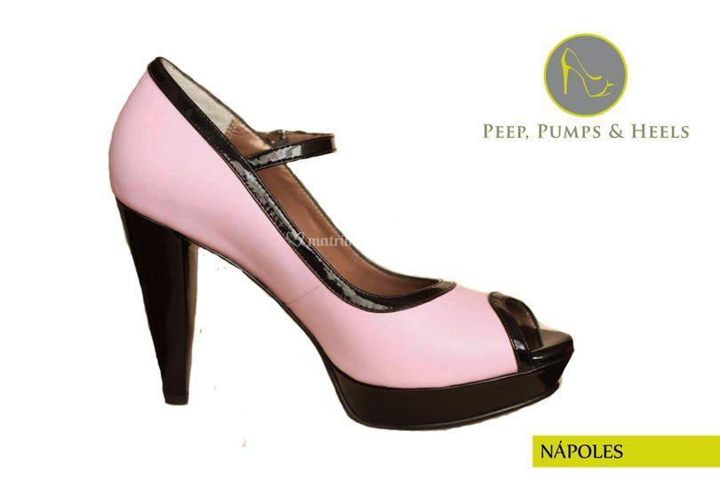 Cuero rosado con charol negro