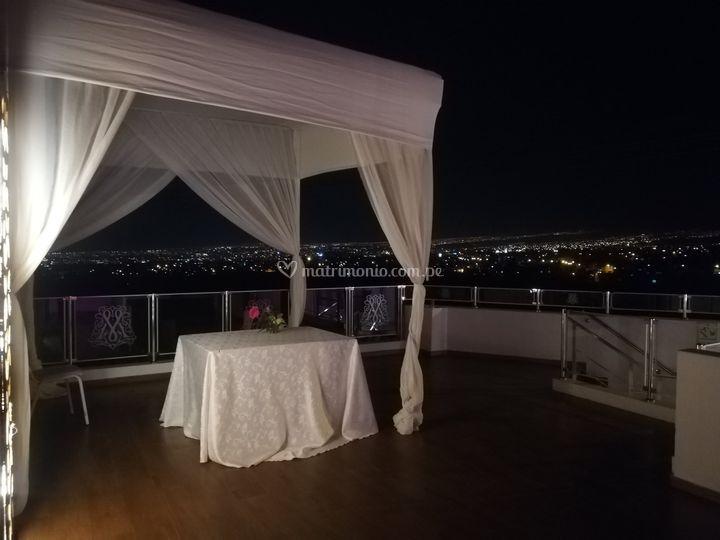 Vista de noche de terraza