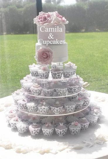 Torta y cupcakes vintage