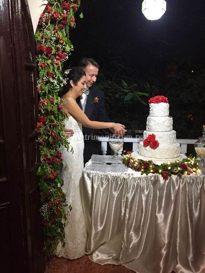 Corte del pastel Sofia y Mike