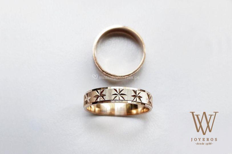Aros matrimonio Oro diamantado