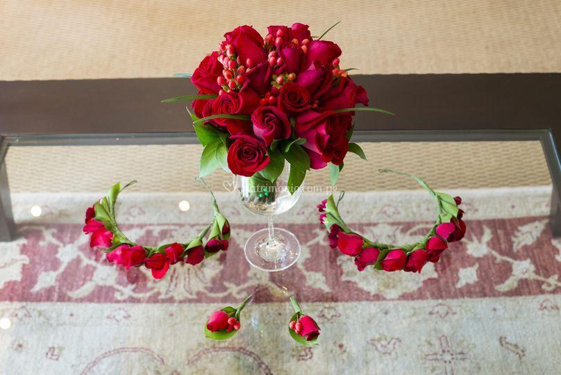 Bouquet, bouttonier y coronita