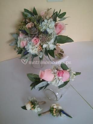 Bouquet, corona y botonier
