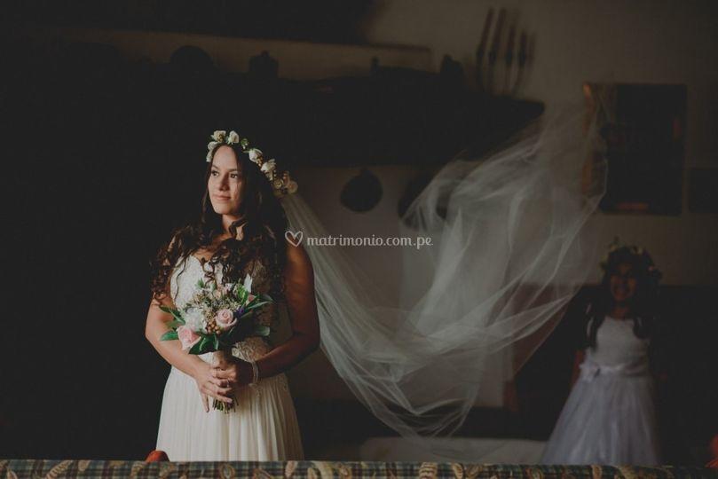 Bouquet y corona rustica