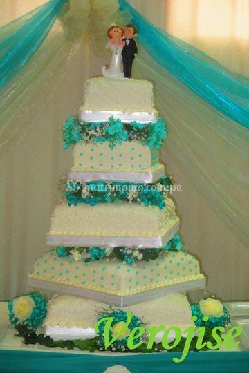 Torta de bodas de 5 pisos
