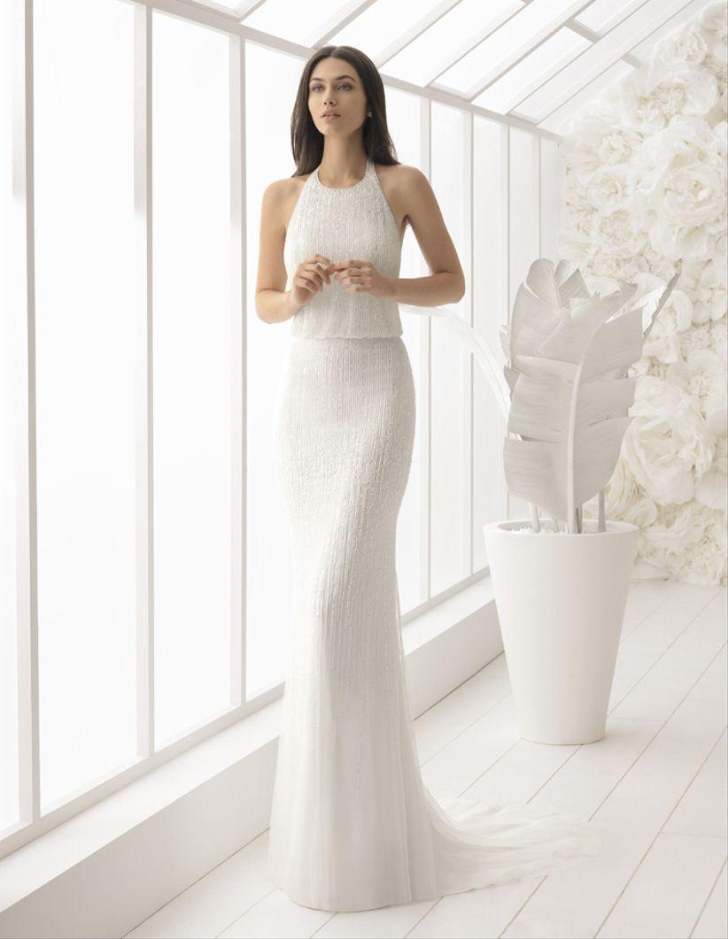 Vestido novia cuello halter