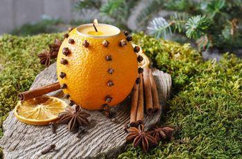 Una boda con aroma frutal: DIY decoración con velas de naranja