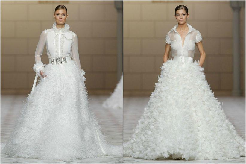 aprende cómo llevar plumas en tu vestido de novia