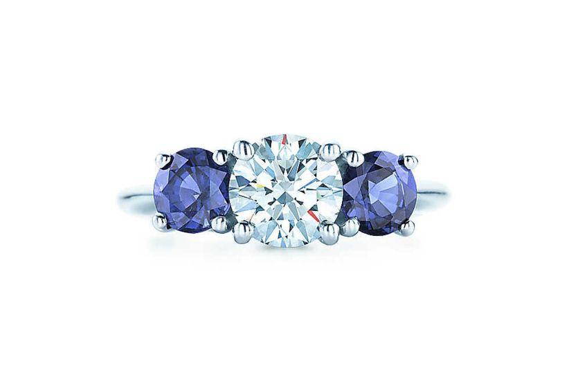 Anillos De Compromiso De Piedra Azul