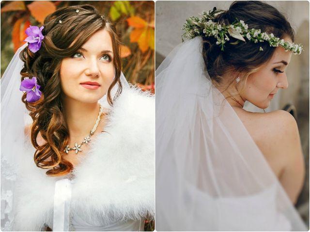 Novias con flores en el cabello