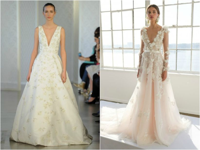 206ab1ada ... escotes en los hombros. Este estilismo es utilizado también para  resaltar la cintura de la novia mediante ramilletes de flores bordados a su  alrededor.