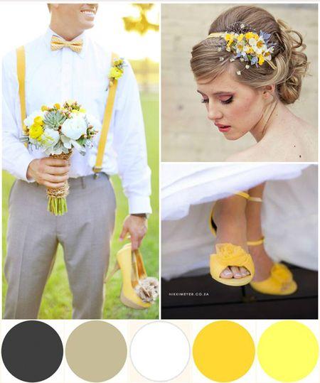 Tu boda en amarillo, blanco y gris