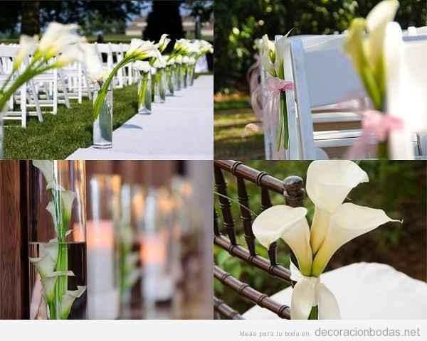 Decoración ceremonia civil, calas amarradas a las sillas.