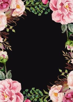Fondo negro y flores