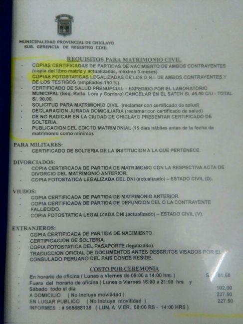 Requisitos y proceso del tramite para matrimonio civil - Chiclayo 1