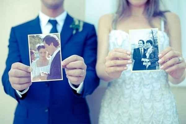 6. Con las fotos del día de la boda de sus padres