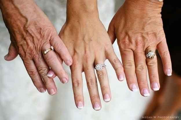 3.  Tres generaciones unidas por un anillo: abuela, madre e hija