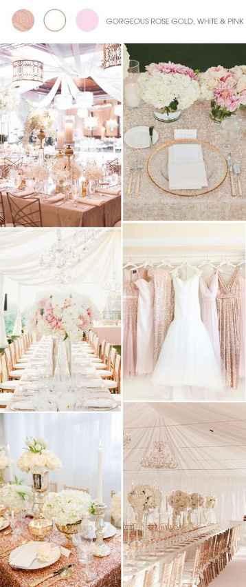 Con blanco y oro rosa