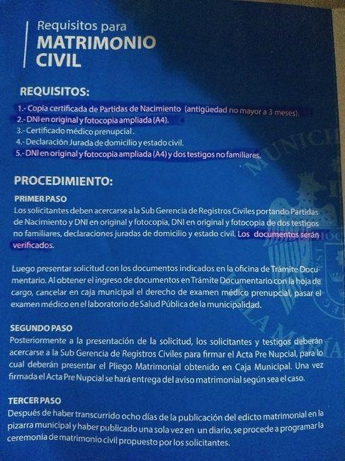 Requisitos: Matrimonio Civil: Villa María del Triunfo