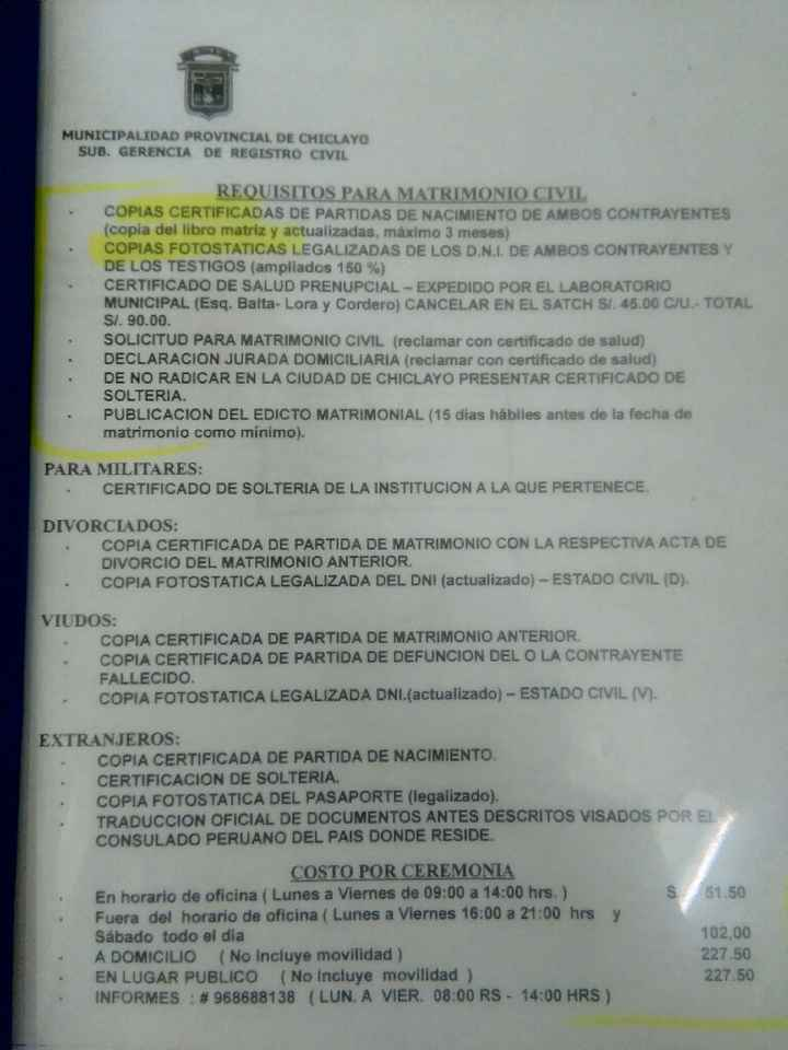 Requisitos y costo de civil en la ciudad d chiclayo - 1