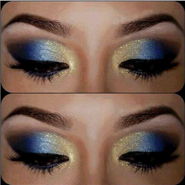 Maquillaje en Azul y amarillo 1