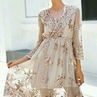 vestido boda civil - encajes -dorados ♥♥ - 3