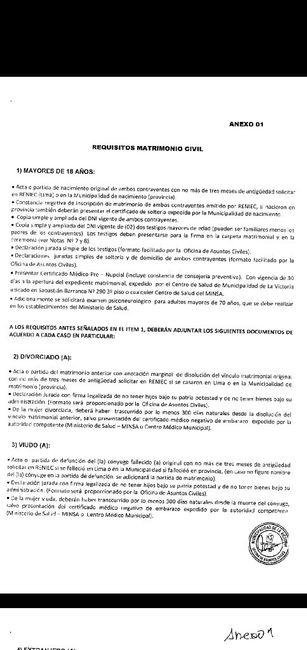 requisitos matrimonio civil -municipalidad de la victoria , lima 2
