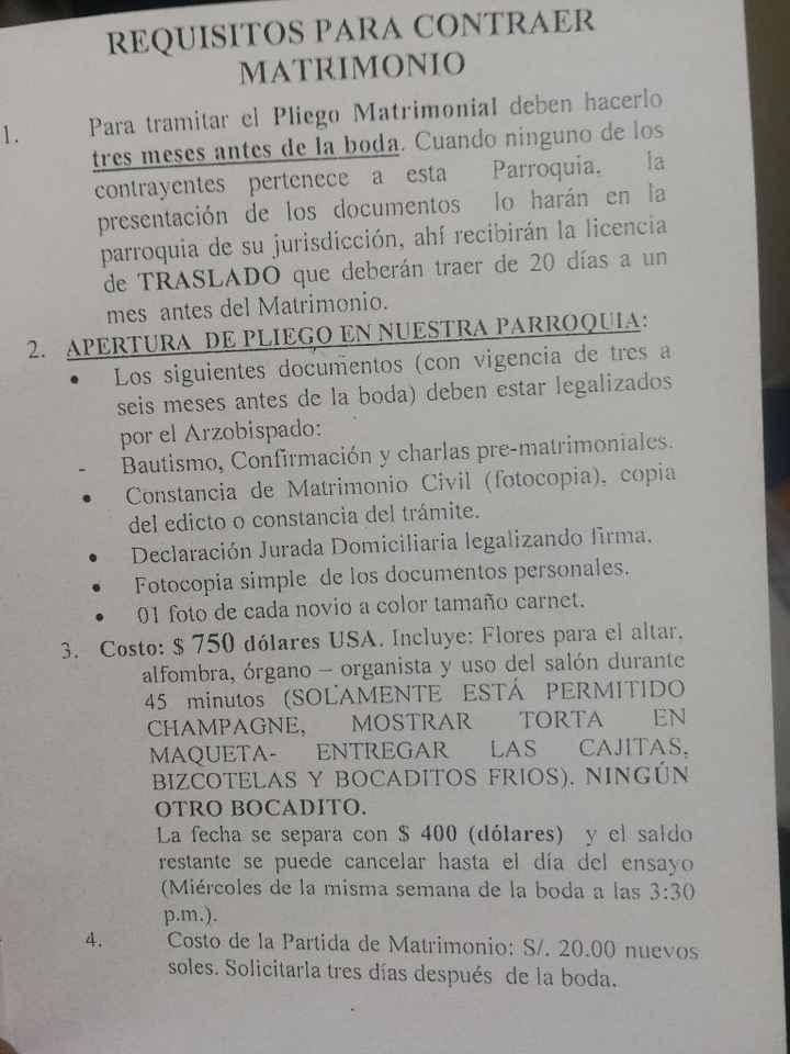 Requisitos Parroquia Nuestra Señora del Pilar - 1