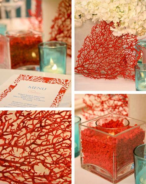 boda turquesa y coral