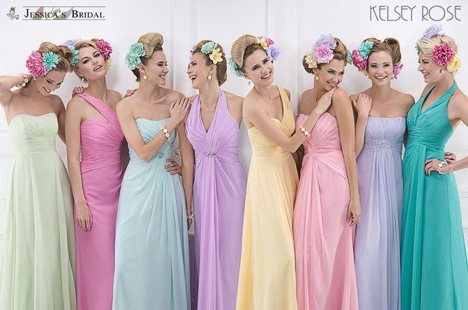 Vestidos para damas de honor colores pasteles