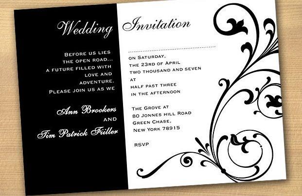 invitaciones para boda de blanco y negro