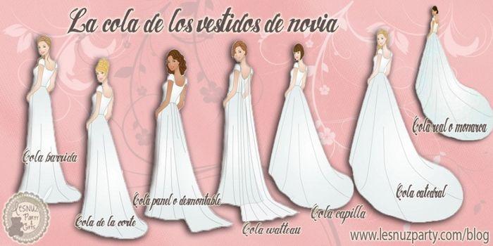 tipos de cola para vestidos de novia