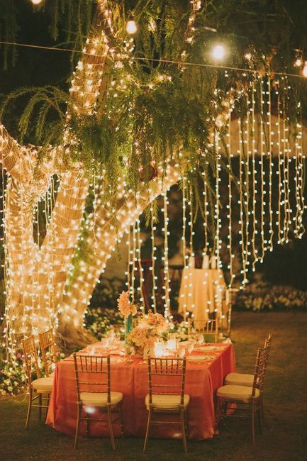 boda, noche, decoración