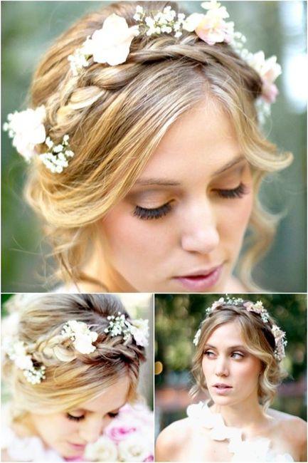 Peinados novia trenza flores