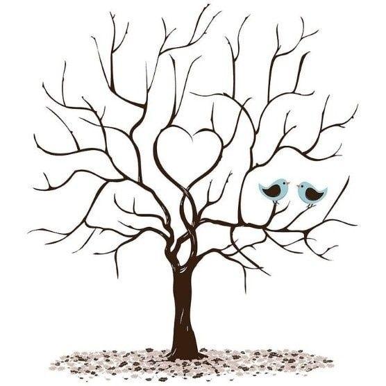 Wedding Tree Vector: 5 árboles De Huella Para El Matrimonio