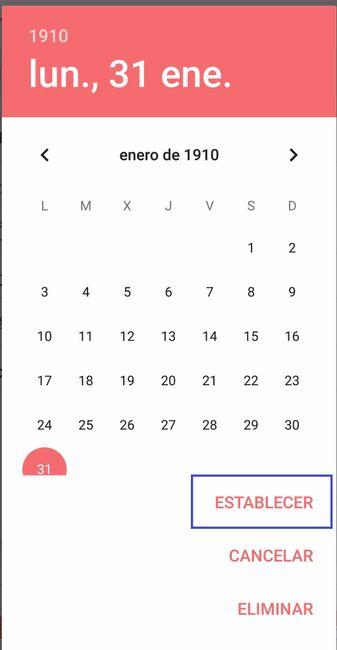 Cambiar fecha de boda en la app
