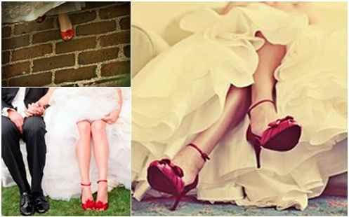 novia con zapatos rojos