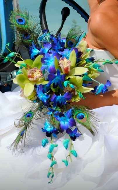 bouquet de novia pavo real