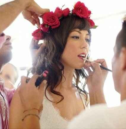 tocados novia rosas roja