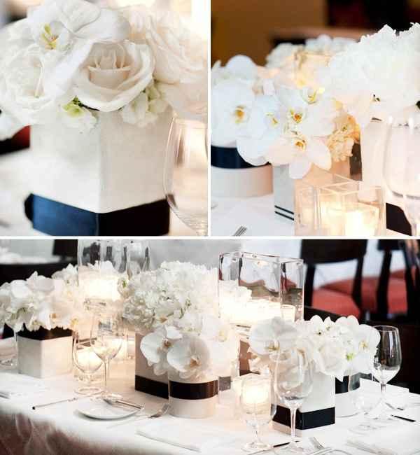 centro de mesa blanco y negro