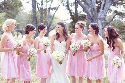 Vestidos para damas de honor rosa