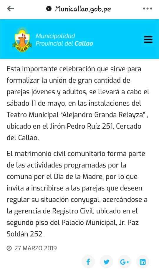 Matrimonio civil masivo en el Callao 2019 - 2