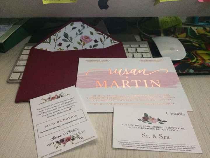 invitacion 2 - 3 tarjetas dentro del sobre