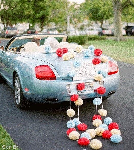 Ideas para decorar el auto de novios 3