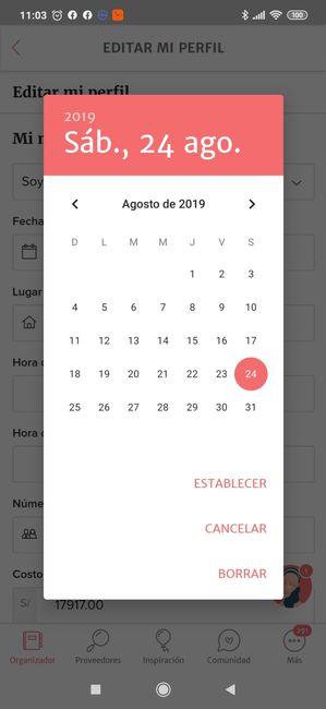 ¿Cómo cambio la fecha de mi boda en la App? 3