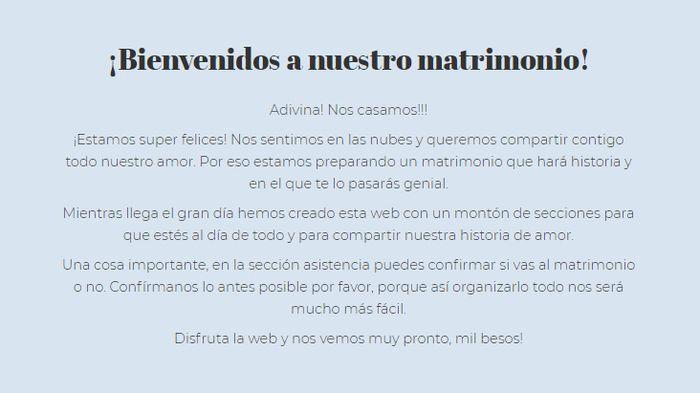 Web de Matrimonio: ¿Te quedas con esta Bienvenida? 3