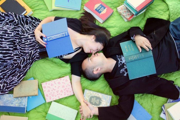 14. Libros en la sesión fotográfica