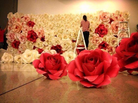 Decoraci n flores de papel - Papel para cubrir paredes ...
